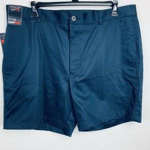 ROUNDTREE & YORKE Travel Navy Smart Flat Front 7""